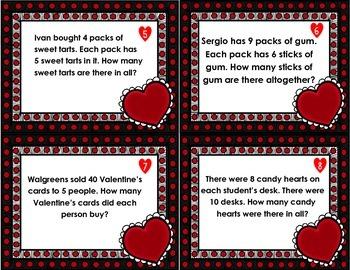 Valentine's Problem Solving Task Cards- Multiplication