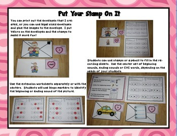 """Valentine's """"Put Your Stamp On It!"""" Literacy Centers, Games, and Printables"""