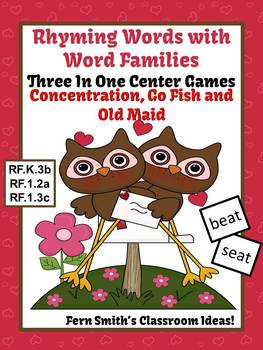 St Valentine's Rhyming Words with Word Families Center Games and Printables