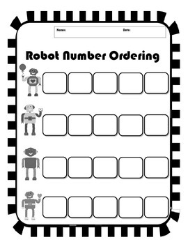Valentine's Robot Non-Consecutive Number Ordering - Differentiated
