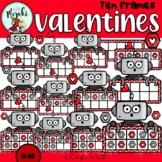 Valentines Robot Ten Frames Clip Art. San Valentin