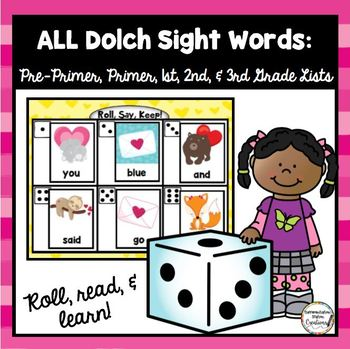 Valentines Roll, Say, Keep: Editable, Alphabet, and Dolch Sight Words