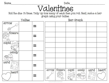 Valentines Roll Tally Graph Math Activity Set