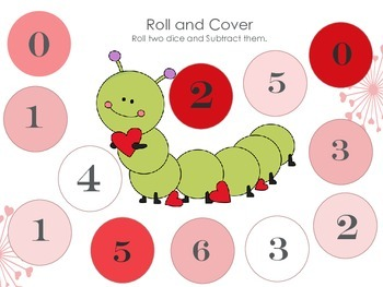 Valentines Roll and Cover Addition 2-3 digits and subtraction 2