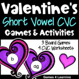 Valentine's Day Games: Valentine's Day Worksheets for Short Vowels Phonics Games