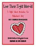Valentine's Sight Word Activity Packet