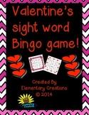 Valentine's sight word bingo game
