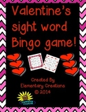 Valentine's sight word bingo game