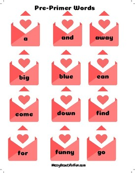 Valentines Sight Word Delivery Game - All 220 Dolch Sight Words Included!