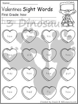 Valentines Sight Word Find: First Grade