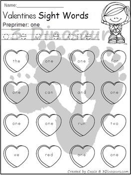 Valentines Sight Word Find: Preprimer