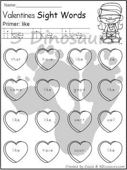 Valentines Sight Word Find: Primer