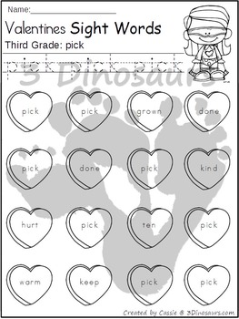 Valentines Sight Word Find: Third Grade
