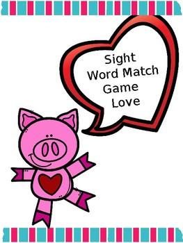 Valentines Sight Word Game Match