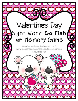Valentines Sight Word Go Fish or Memory Game