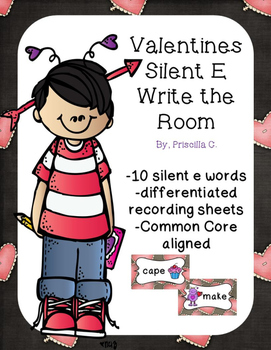 Valentines Silent E Write the Room-No Prep, Just Print!