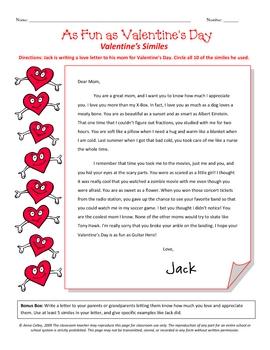 Valentines Similes - literacy writing reading figurative language