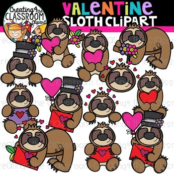 Valentines Sloth Clipart {Valentines Day Clipart}
