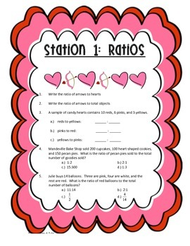 Valentine's Stations: Rates and Ratios (6.RP.1, 6.RP.2, 6.RP.3)