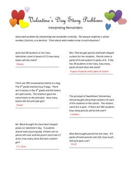 Valentine's Story Problems for Interpreting Remainders