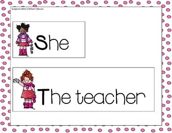 Valentine's Subject and Predicate Sentence Building