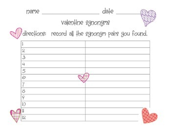 Valentine's Synonym Game and Activities
