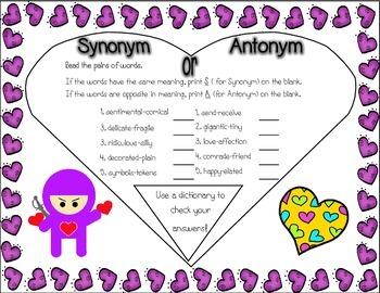 Valentine's Synonym or Antonym Challenge - No Prep!
