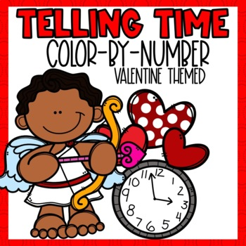 Valentines Telling Time Color-By-Number