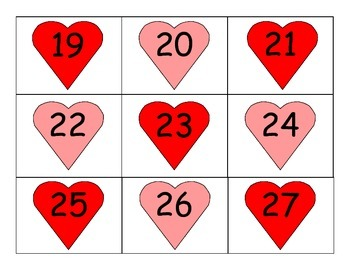 Valentines Themed Calendar numbers