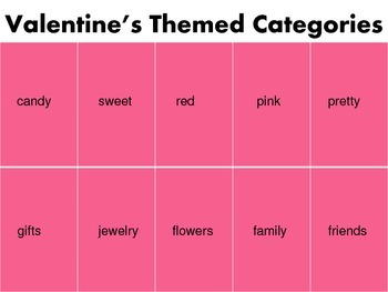 Valentine's Themed Categories & Associations