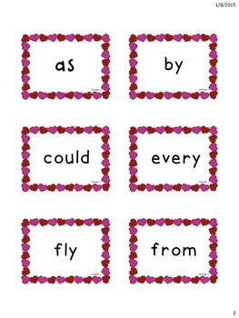 Valentine's Themed Dolch 1st Grade Sight Word Flashcards