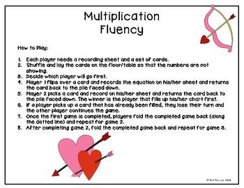 Valentines Themed Multiplication Fluency Practice