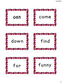 Valentine's Themed Pre-Primer Dolch Sight Words Flashcards