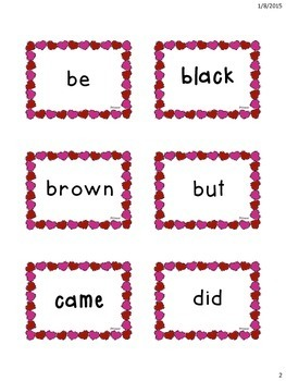 Valentine's Themed Primer Dolch Sight Words Flashcards!