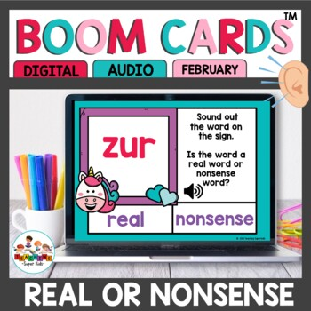 Real or Nonsense Words Boom Cards February