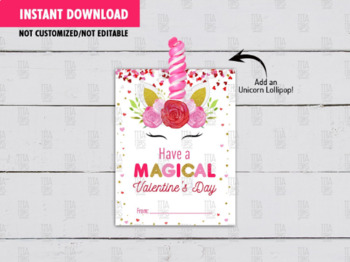 Valentines Unicorn Lollipop Holder, DIY Printable, Unicorn Exchange Tag Ideas