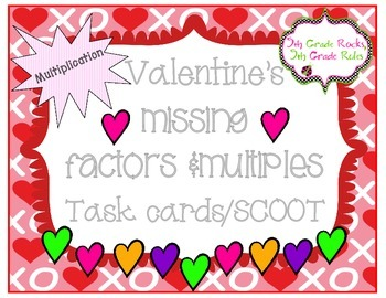 Valentine's Unknown Factors Multiplication Task Cards