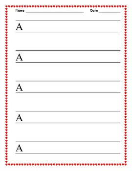 Valentines Uppercase Handwriting Practice Sheets