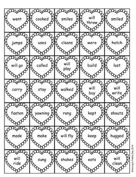 Valentine's Verb Tense Sort