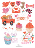 Valentines Watercolor Clipart