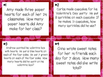 Valentine's Multiplication and Division Word Problem Task Cards
