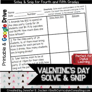 Valentine's Word Problems Solve and Snip- 4th & 5th- Common Core
