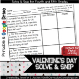Valentines Math Solve and Snip with Self Checking Word Problems
