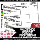 Valentine's Day Math Proportions Solve and Snip® Interactive Word Problems