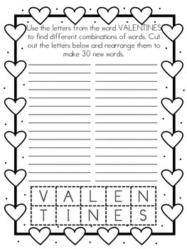 Valentine's Word Scramble Freebie