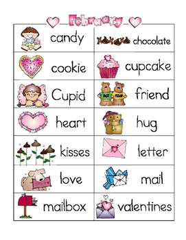 Valentines Word Wall and Picture Dictionary