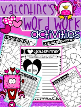 Valentines Word Work and Editable Slides with Timers