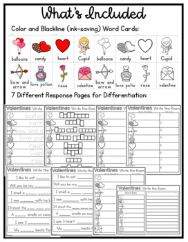 Valentines Write the Room ~ Differentiated Response Pages
