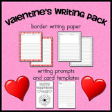 Valentine's Writing Pack -- Heart Border paper, Prompts, and Card Templates