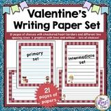 Valentine Writing Paper Set Primary and Intermediate in Various Line Spacings